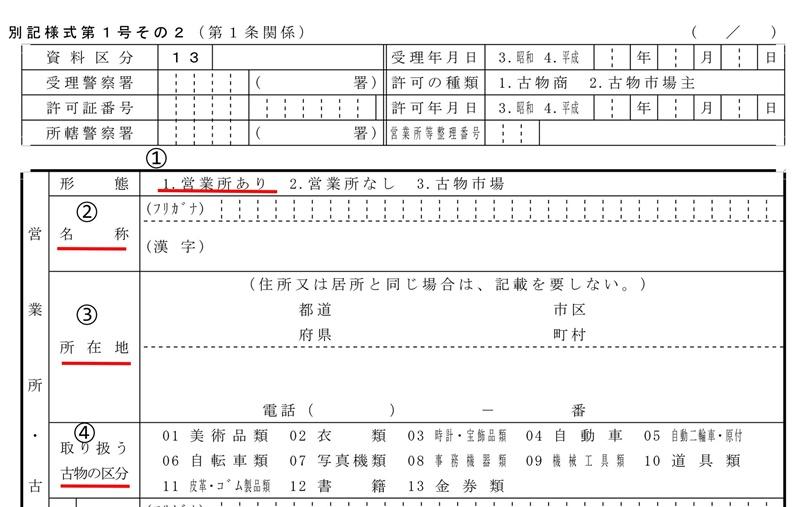 申請書の上段部分
