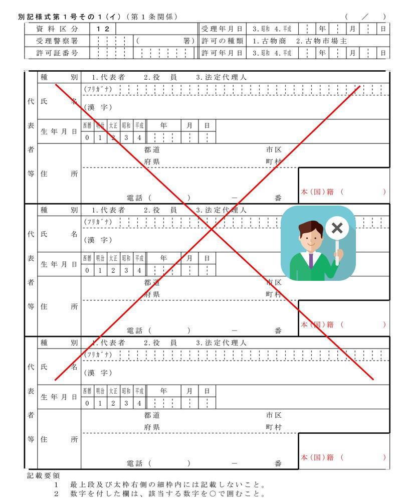 申請書に×印